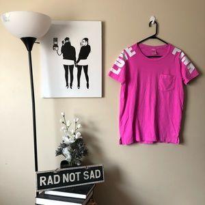 Victorias Secret Pink Magenta Pocket Campus Tee